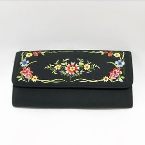 Satin & embroidered floral black clutch